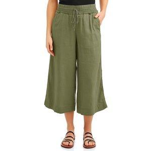 TIME & TRU Green Linen Blend Wide Leg Crop Pants